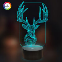 3D Deer Illusion Night Light 16 Colors Change Decor Desk lamp for Holiday Gifts