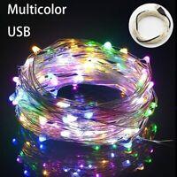 USB Anschluss LED Lichterkette 10M 100 LEDs Silberdraht Party Hochzeitsdeko Xmas