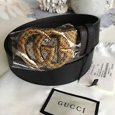 Original Gucci Gürtel SCHWARZ BRAUN Leder GG Gold Schnalle GR 90
