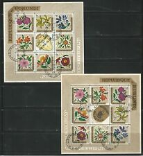 Burundi: Lot of 2 mini sheet favor a used, of thematic flowers. BD18