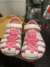 Nwt Stride Rite Girls Sandals Size 10 White W Pink Flowers