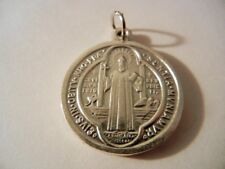 """St. Benedict Jubilee Medal Silver 1"""" Round NEW!  Made in Italy!"""