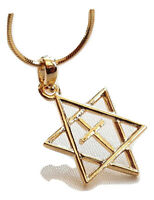 H.quality Necklace & pendant rhodium gold.Jewish Star of David&Cross holyland