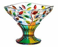 Murano Glass Flowervine Pattern Compote Bowl - Made And Hand Painted In Italy