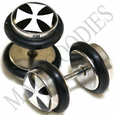 0006 Fake Cheater Faux Illusion Ear Plugs 16G Look 0G 8mm Iron Cross Design