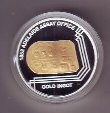 2009 $1 GOLD PLATED SILVER PROOF COIN 1852 Adelaide ASSAY OFFICE GOLD INGOT