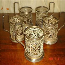 antique handmade engraved design silver 5 glass service holder with handle