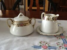 Vintage Nippon Creamer with Plate and Covered Sugar Bowl circa 1920