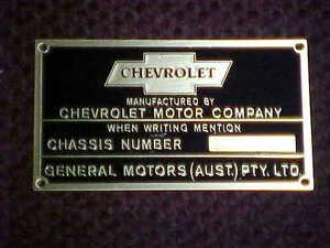 Chevrolet Australian data plate acid etched brass 1920s - 1930s