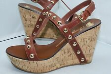 New Juicy Couture Shoes Wedge Sandals Studs Size 9 Brown Slings Kippet Leather