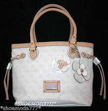 GUESS PERSUASION Bag Purse Tote Lock Heart Charm Flowers 4 G Logo Chalk New