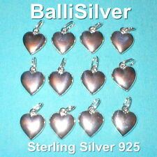 24 pcs Sterling Silver 925 14mm HEART Charm Pendants Wholesale Lot Real Silver