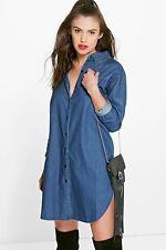 Kellie Sleeved Button Through Denim Shirt Dress Large Fits 12