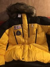 Ralph Lauren Yellow Down Parka NWT Size L With Hooded Fur Accent