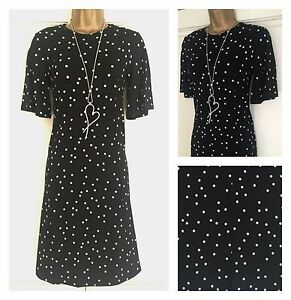 NEW EX M&S BLACK WHITE SPOT PRINT A-LINE JERSEY STRETCH DRESS SIZE 6 - 22