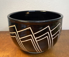 Geometric Black & White Studio Pottery Ceramic Bowl/Planter Deco Design Signed