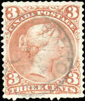 Used TORONTO Canada F-VF Scott #25 3c EARLIER DATE 1868 Large Queen Issue Stamp