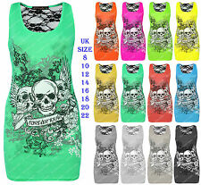 Womens Forever Young Skull Print Bodycon Mini Dress Lace Back Vest Top Plus Size
