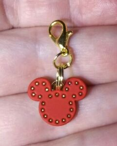 Gold Mickey Mouse Red Leather Front Charm Zipper Pull or Keychain Add On Clip!!