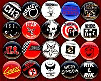 Punk button pin set of 20 TSOL Adolescents Screamers Gears Rik L Angry Samoans
