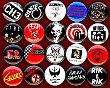 Punk button pin set of 20 Descendents Circle Jerks Fear DI Zeros Dickies Weirdos