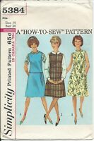S 5384 sewing pattern 60's vintage BLOUSE JUMPER DRESS sew retro chic size 14/34
