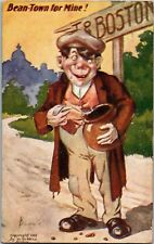 Hobo Eating a Pot of Beans, Bean-Town for Mine Boston 1906 Vintage Postcard T01