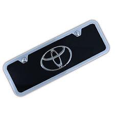 Toyota Chrome Logo On Mini Black License Plate + Frame