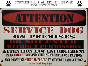 """Metal Attention Service Dog Sign For FENCE ,Beware Of Dog 8""""x12"""""""