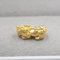 Down Price Pure 999 24k Yellow Gold 3D Lucky Coin Pixiu 貔貅 Bead Pendant/0.5-0.6g