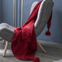 130*160cm Knitted Tassel Blanket Pom Pom Thread Throw Blankets Sofa Bed Office