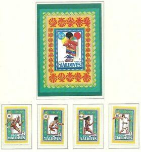 MALDIVES 1992 - OLYMPIC GAMES Barcelona - 4 Stamps & Mini Sheet - Mint MNH