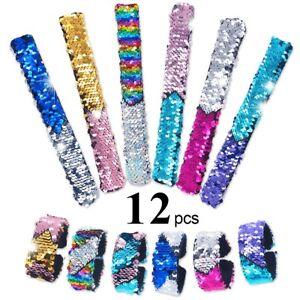 Kids Slap Bracelets Mermaid Magic Sequin Reversible Girl Party Favor Toy 12 New