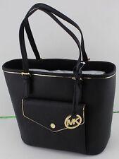NWT NEW Michael Kors Specchio Leather Snap Pocket Tote Black Handbag $228 MSRP