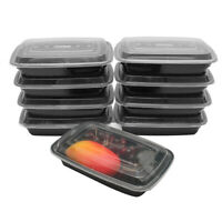 10Pcs Prep Meal Storage Plastic Food Container Lunch Box Reusable Microwavable