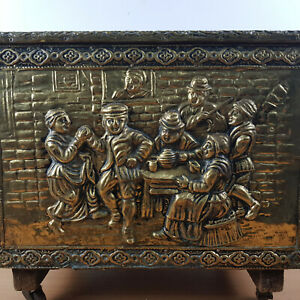 Wooden Brass Plated Coal Wood Box Fireside Fireplace Storage Chest Tavern Wheels