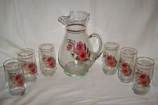 Red/Pink Pansy Flowers Floral Glass Pitcher & 6 Tumblers Gold Gilt  Accents