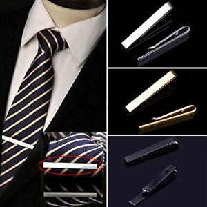 1 pc Fashion Style Tie Clip Men Metal Silver Gold Simple Bar Clasp Necktie Clasp