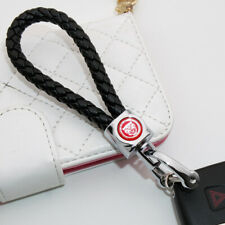 For Jaguar Logo Emblem Key Chain Ring BV Calf Leather Gift Decoration - Black