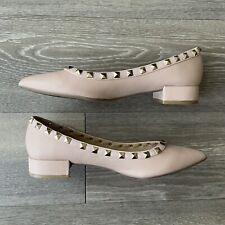 Lulus Rockstud Nude Beige Pointed Ballerina Flats Size 7 Studs Studded