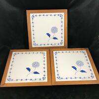 Set of 3 KAMEMSTEIN Ceramic Blue Sunflower Trivets