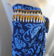 "BLUE WHITE GOLD CORONA BEER BORDER WRAP SARONG COVER UP FRINGE Aprox 63""x 45"""