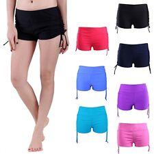 Women's Swim Shorts Solid Color Bikini Bottoms Stretchy Drawstring Boy Shorts
