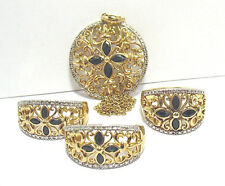 STERLING SILVER GOLD SAPPHIRE FILAGREE JEWELRY SET OF 3 PIECES