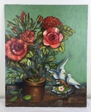 16 x 20 Oil Painting Red Roses in Clay Pot & Dove Figurine on Wood Table signed