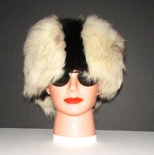 "Extra Wide White Fox /Black Opossum Fur Headband 23"" X 6""approx."