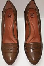 Johnston & Murphy Women US 8 Laser Cut Cap Toe Brown High Heel Pump Classic Shoe