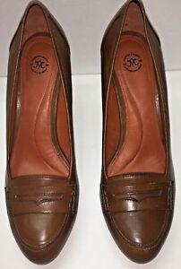 Johnston & Murphy Women US 8 Laser Cut Cap Toe Brown High Heel Pump Classic Shoe