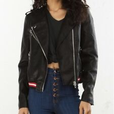 Blank NYC Racing Stripe Faux Leather Bomber Jacket Small Retail $148