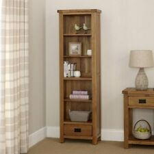 Rustic Oak Tall Narrow Bookcase - With Drawer - Adjustable - BRAND NEW - RS25